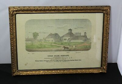 Early Framed Advertisement For The Union Glass Company Cleveland, New York