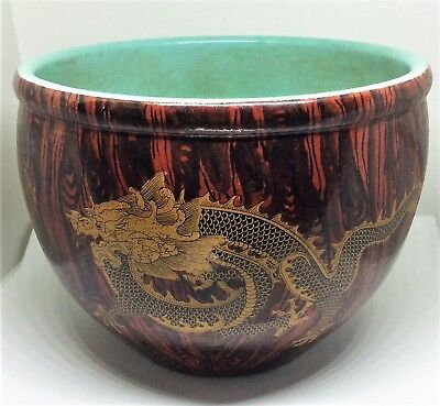 Antique Chinese Large Turquoise Porcelain 5-claw Dragon Bowl YongZheng Marked