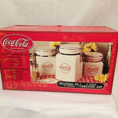 Coca-Cola Cafe Airtight Stoneware Canisters Gibson Retired 2000