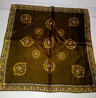 Vintage DUMONT POCKET SQUARE scarf Italy Hand Rolled Edges NWOT Green Gold