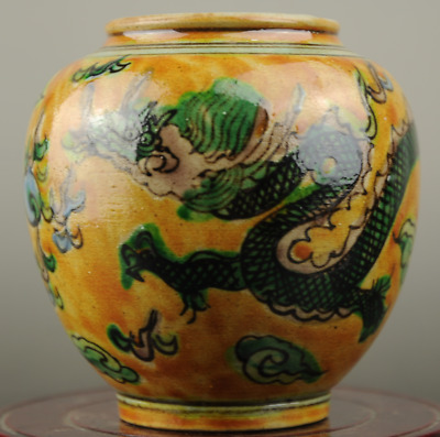 Chinese old hand-made plain tricolour porcelain dragon pattern vase