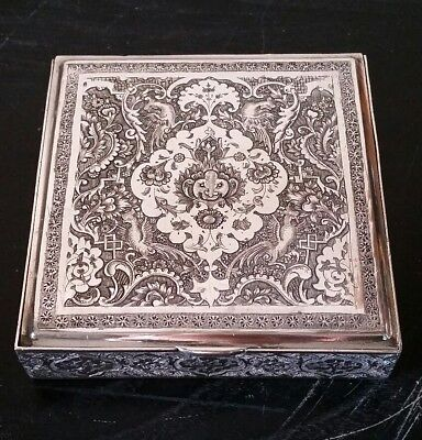 Stunning Solid Sterling Silver Cigarette Box Amazing Detail Persian Hand Chased