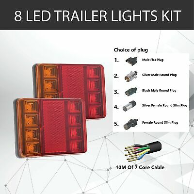 Pair of 8 LED TRAILER LIGHTS KIT - 1 x Trailer Plug, 10 M x 7 CORE CABLE 12V