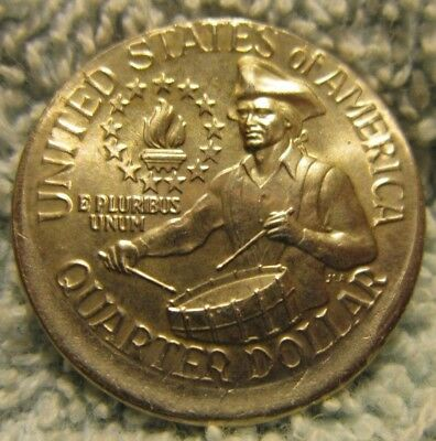 1976-D Bicentennial Quarter, struck off center.  MINT ERROR!  (AR)A