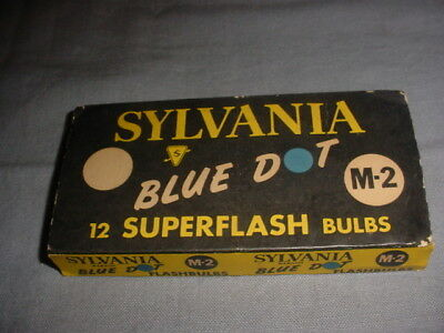 1 Dozen SYLVANIA M-2 Blue Dot SUPERFLASH BULBS Wabash M2 FLASHBULBS Vintage
