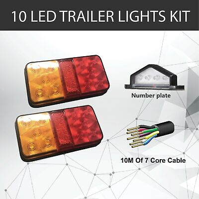 Pair of 10 LED TRAILER LIGHTS KIT -1 x NUMBER PLATE LIGHT, 10M x 7 CORE WIRE 12V