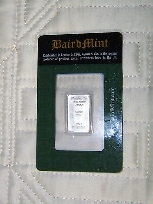 BAIRD & CO RHODIUM Mint 1/10TH OZ  Fine Rhodium Bar Tenth Ounce .999 Fine