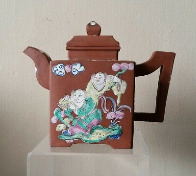 Antique Chinese Enameled Yixing Pottery Teapot With Figures Famille Rose