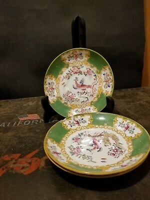 Minton china cockatrice pattern green. 3 bread and butter plates. Vintage