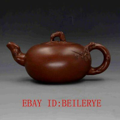 Vintage Chinese Yixing Zisha Hand-carved Plum Blossom Teapot w Jiang Rong Marks