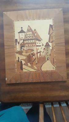 Wood Inlaid Picture from Germany Rotherburg Tauber NR