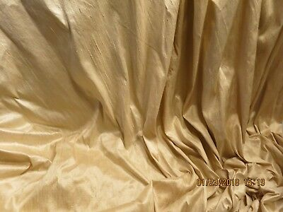 VINTAGE FINE DUPIONI SILK LIGHT GOLD  ANTIQUE DOLL DRESSING- MODERN  26X 18- s50