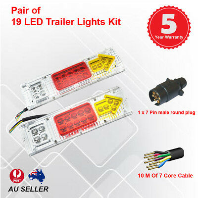 Pair of 19 LED TRAILER LIGHTS KIT - 1 x Trailer Plug, 1 x 10 M 7 CORE CABLE, 12V