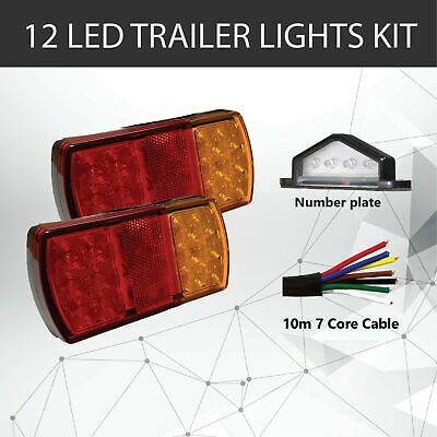 Pair of 12 LED TRAILER LIGHTS KIT - 1x NUMBER PLATE LIGHT,10M x 7 CORE CABLE 12V