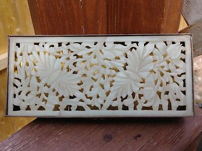 Antique Chinese Bronze/Heavy Brass Tree Of Life Designed Natural White Jade Box
