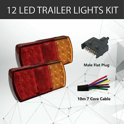 Pair of 12 LED TRAILER LIGHTS KIT - 1 x Trailer Plug, 1 x 10M 7 CORE CABLE, 12V