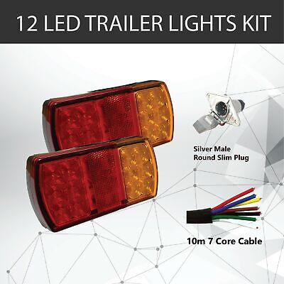 Pair of 12 LED TRAILER LIGHTS KIT - 1 x Trailer Plug, 1 x 10 M 7 CORE CABLE, 12V