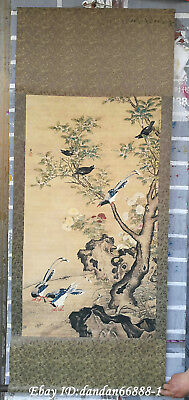 Collect China hanging draw Hand-painted flower bird calligraphy scroll painting