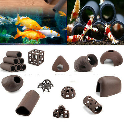 Aquarium Tank Breeding Cave Shelter 6 Hole Tube For Shrimp Spawn Live Plant Fish