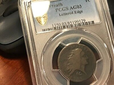 1793 s-11c Lettered Edge Wreath Cent PCGS AG3