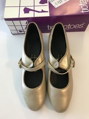 Tic Tac Toes, Gold Low heel with Strap, Size 7 1/2 Wide New