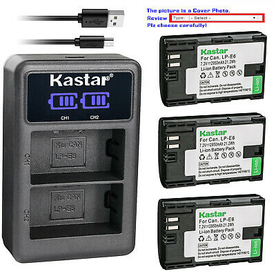 Kastar Battery LCD Dual Charger for Canon LP-E6 LP-E6N LC-E6 & Canon EOS 70D