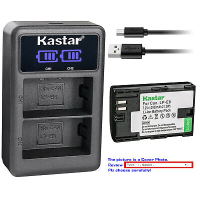 Kastar Battery LCD Dual USB Charger for Canon LP-E6 LP-E6N LC-E6 & Canon EOS 5DS