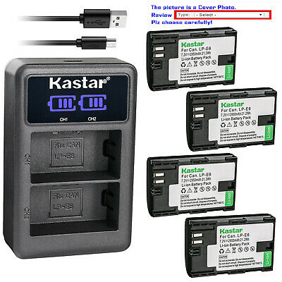Kastar Battery LCD Dual Charger for Canon LP-E6 LP-E6N LC-E6 & Canon EOS 80D