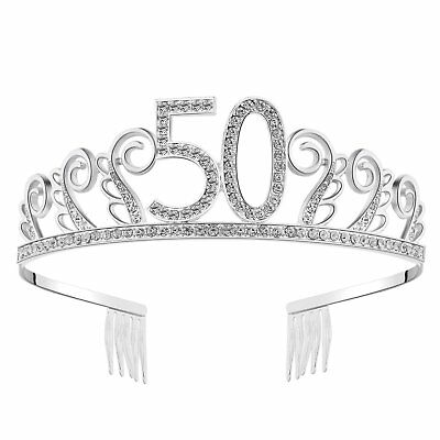Happy Birthday Crystal Tiara Rhinestone Princess Crown Silver Diamante