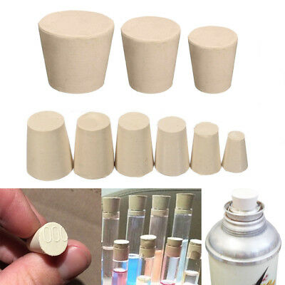 9Size Rubber Stopper Bungs Laboratory Solid Hole Stop Push-In Sealing Plug Cork
