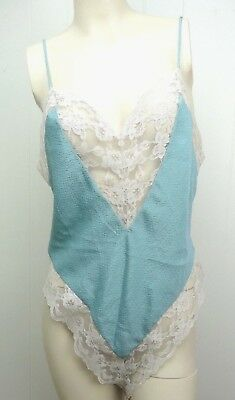VINTAGE Victorias Secret Gold Label Teddy Lingerie One Piece Blue Lace Sz Large