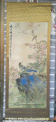 Collect China hanging draw Hand-painted Flower birds calligraphy scroll painting