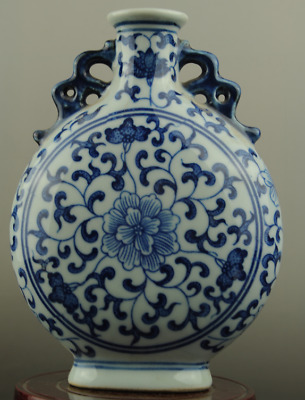 Chinese old hand-made Blue and White porcelain flower pattern Binaural vase