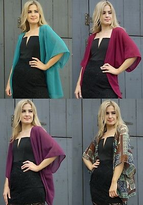 Casual Cardigan Summer Cape Shrug Cover Up Chiffon Wide Sleeve Loose Fit
