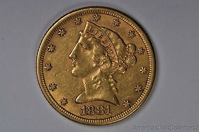 1881 $5 Five Dollar Liberty Head Half Eagle Gold Coin No Reserve Auction |0216