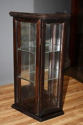 Antique Wood Wooden U0026 Glass Hanging Wall Curio Cabinet Glass Shelves