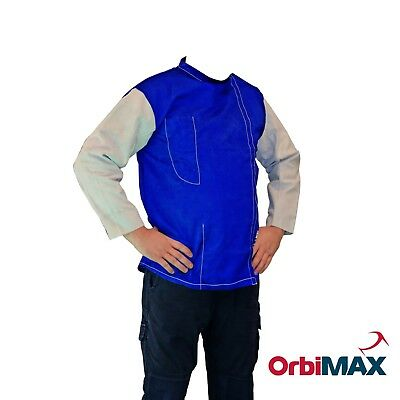 Fire Retardant Welding Jacket Blue with Leather Sleeves Orbimax 100% Cotton