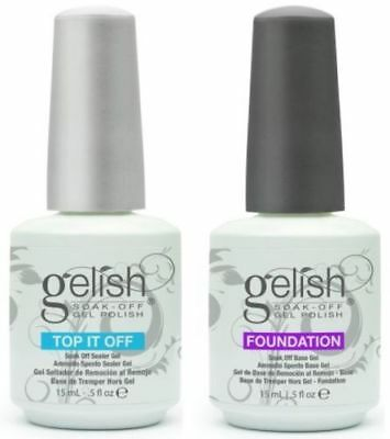 Gelish Top it Off  Top Coat and Foundation Base Coat UV Gel 15ML FREE SHIPPING