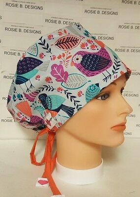 Bird  Designs/pixie Hat Style / Scrub Surgical /chemo Cap /nurses/dr's