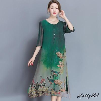 Chinese Vintage Women's Chiffon Silk Ink Print Sleeve Loose Casual Long Dress #