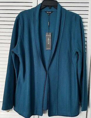 Misook Textured Knit Jacket Blazer Large Teal