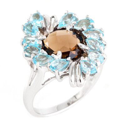 100% Natural+ 10Mm Smoky Quartz Sky Blue Topaz Sterling Silver 925 Ring Size 9