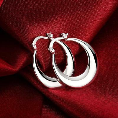 Womens 925 Sterling Silver Classic Round Shaped Vogue Hoop Earrings #E200