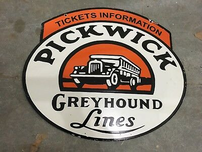 """Porcelain PICKWICK GREYHOUND Sign SIZE 24"""" X 19"""" INCHES DOUBLE SIDED Pre-Owned"""