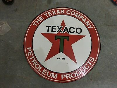 """Porcelain Texaco Sign SIZE 24"""" ROUND DOUBLE SIDED Pre-Owned"""