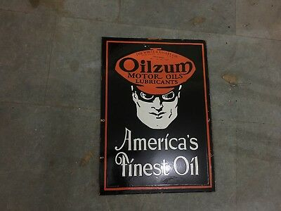 """Porcelain Oilzum Motor Oils enamel sign 20"""" X 28"""" Inches 2 Sided Pre-Owned"""