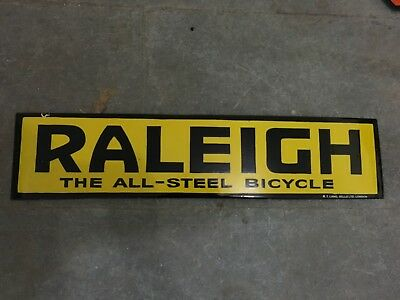 """Porcelain RALEIGH BICYCLE Sign SIZE 30"""" X 7"""" INCHES Pre-Owned"""
