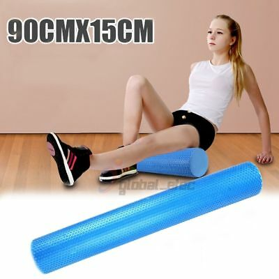 90CM Yoga Pilates Foam Roller EVA Blue Physio Fitness Home GYM Exercise Massage