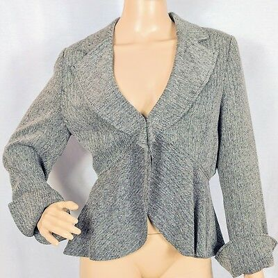 Liz Lange Maternity Size Medium Gray Career Ruffle Hem Blazer Jacket