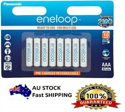 8 x Panasonic Eneloop AA Rechargeable LSD NiMH Batteries - 4th Gen Made in Japan